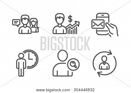 Find User, People Talking And Waiting Icons Simple Set. Business Growth, Messenger Mail And Person I