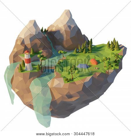 Campsite, a tent, bonfire near the river. Camping island low poly landscape with mountain. Summertime concept. 3d render illustration. poster