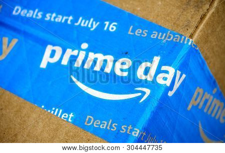 Montreal, Canada - May 10, 2019 : Amazon Prime Day Cardboard Box With Prime Day Logo And Tape On It.