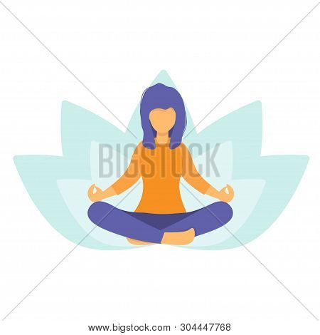 Woman Meditating In Nature And Leaves. Girl Doing Yoga. Lotus Pose The Practice Of Meditation. The C