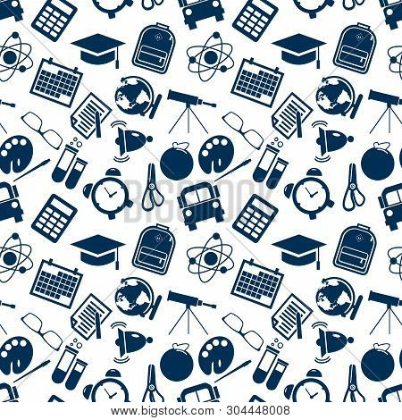 Pattern Of Welcome Back To School With Modern Icons School Supplies. Back To School Background. Back