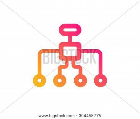 Restructuring Icon. Business Architecture Sign. Delegate Symbol. Classic Flat Style. Gradient Restru