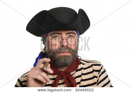 Bearded pirate smoking a cigar. Isolated on white.