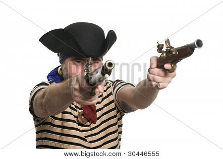 Pirate in tricorn hat with a muskets.