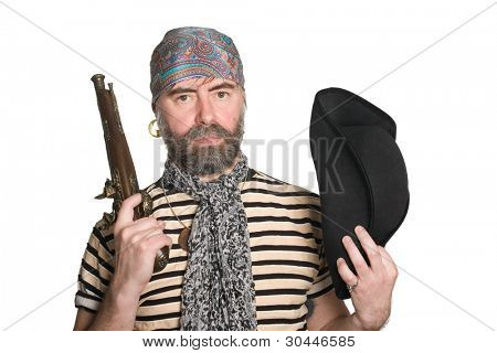 Bearded pirate with tricorn hat and musket