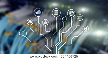 Iot. Internet Of Things. Information Communication Network. Artificial Intelligence. Website Banner.