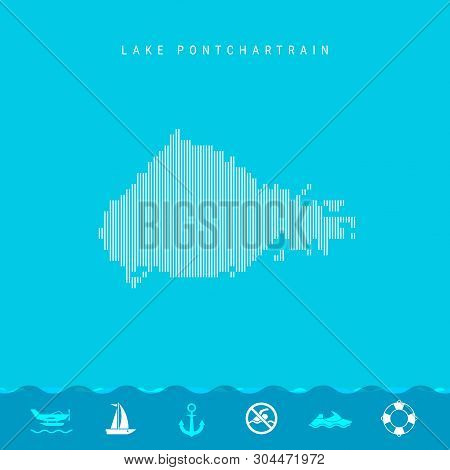 Vector Vertical Lines Pattern Map Of Lake Pontchartrain, One Of The Lakes Of North America. Striped