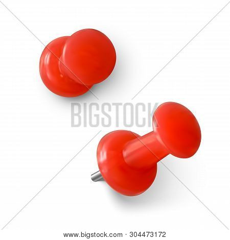 Red Push Pin. Realistic Red Paperclip. Needle For Fixation Memo On Board. Vector Illustration Isolat