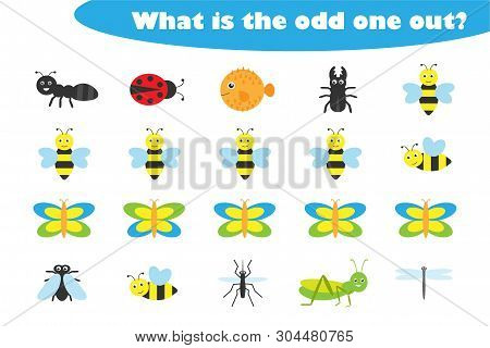 What Is The Odd One Out For Children, Insects Theme In Cartoon Style, Fun Education Game For Kids, P