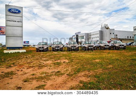 Kirov, Russia - May 07, 2019: Cars Outdoors Near Showroom Of Dealership Datsun And Ford In Kirov