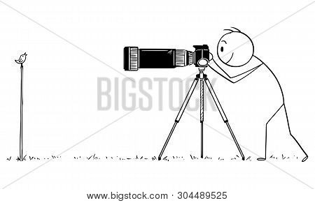 Vector Cartoon Stick Figure Drawing Conceptual Illustration Of Man With Camera On Tripod Or Photogra