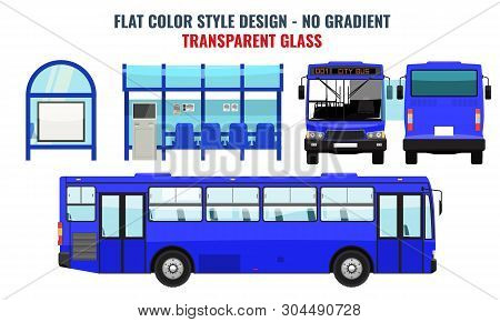 City Bus And Bus Stop, Side Front And Back View. Flat Color Style Vector Illustration. Blue Color