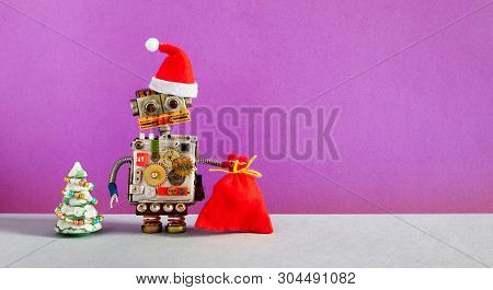 Robotic Santa Claus Christmas New Year Invitation Poster Background. Funny Robot Dressed In Santa Re