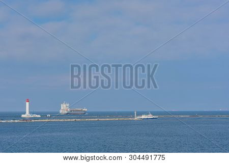 Odessa Commercial Sea Port And Marine Station.sea Entrance To The Port, Yachts, Cargo Ships And Ligh