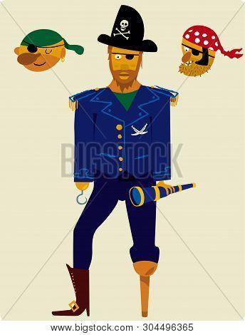 Pirate Cartoon Man With Three Interchangeable Heads.