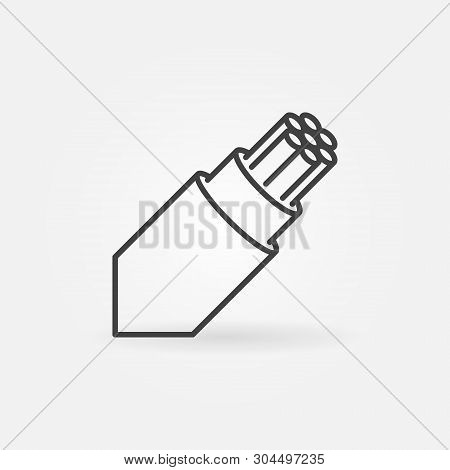 Optical Fiber Breakout Cable Vector Outline Icon Or Design Element