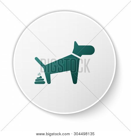 Green Dog Pooping Icon Isolated On White Background. Dog Goes To The Toilet. Dog Defecates. The Conc