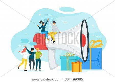 Refer A Friend Concept With People Silhouettes And Exaggerated Megaphone. Group Of Friends Or Client