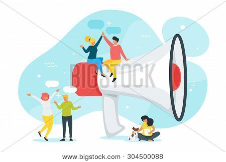 Refer A Friend Concept With Cheerful People Silhouettes And Exaggerated Megaphone. Group Of Friends