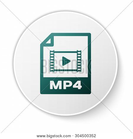 Green Mp4 File Document Icon. Download Mp4 Button Icon Isolated On White Background. Mp4 File Symbol