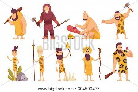 Primitive People In Stone Age Cartoon Icons Set With Cavemen Pelt With Weapon And Ancient Animals Is