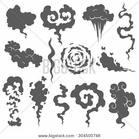 Bad Smell. Smoke Clouds. Steam Smoke Clouds Of Cigarettes Or Expired Old Food Vector Cooking Cartoon