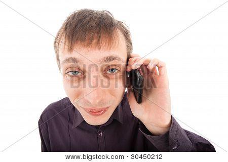 Happy Weirdo Nerd Man On The Phone