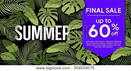 Tropical Summer Sale Poster. Green Tropical Leaves On A Black Background. Summer Floral Frame With T
