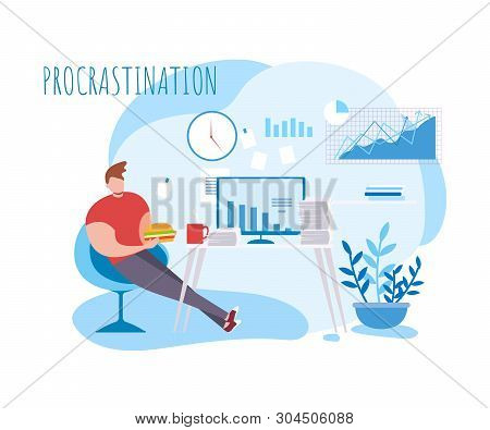 Cartoon Man Procrastination At Work. Food Coffee Break Vector Illustration. Lazy Male Office Worker