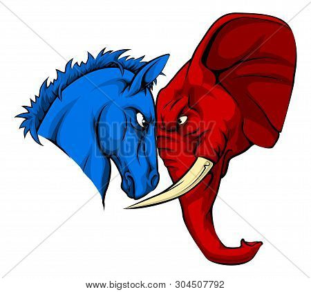 A Blue Donkey And Red Elephant Facing Off. American Politics Or Election Concept With Animal Mascots