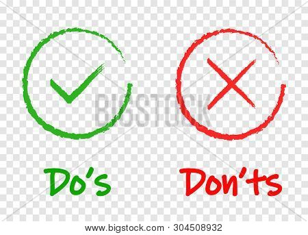Do And Dont Or Good And Bad Icons. Positive And Negative Symbols, Eps 10