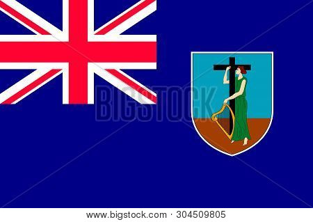 Flag Of Montserrat Island In Caribbean Sea. Patriotic Country Symbol With Official Colors. Flag Of C