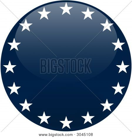 Blue Button With White Stars