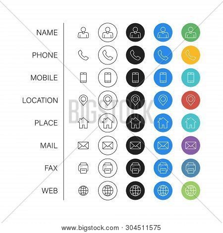 Set Of Business Card Icons. Name, Phone, Mobile, Location, Place, Mail, Fax, Web. Contact Us, Inform