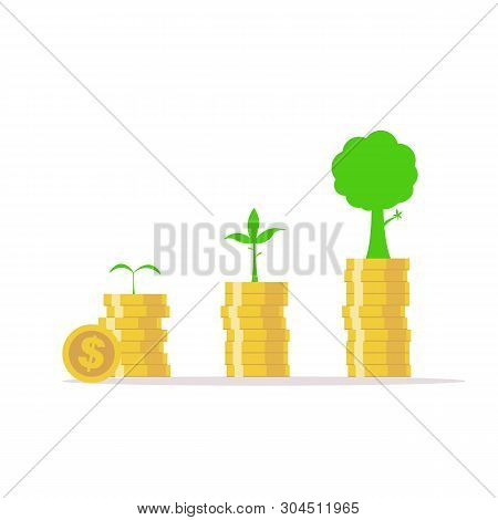 .business Growth Concept.investing Money Like Tree Grow.growing Money And Trees.plant Growing Saving