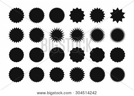 Big Set Of Starburst Sale Sticker Label. Sunburst Price Tag Discount Sticker, Shopping, Sale, Specia