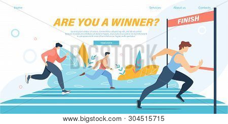 Running Competition, Group Of Athlete Sprinter Sportsmen Team Run Marathon Distance Or Sport Jogging