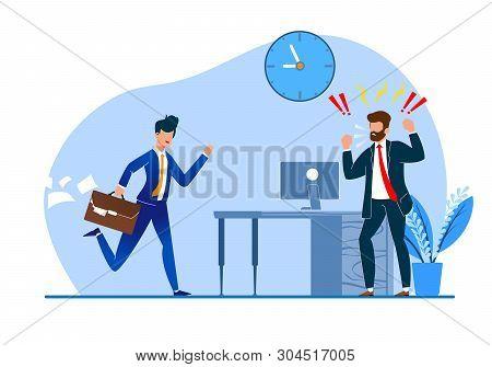 Vector Illustration Constant Late Arrival Flat. Chief Enraged Watching  Behavior Subordinate. Man Su