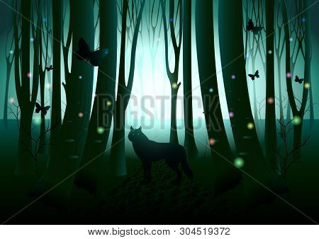 Wolf Silhouette, Flying Butterflies And Fireflies In Dark Fantasy Shine Forest. Mysterious Vector Il