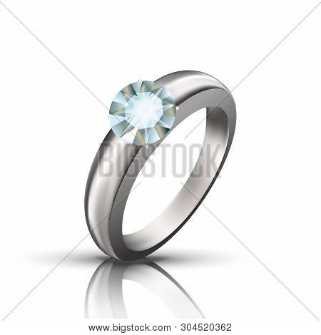 Round Diamond On Silver Or Platinum Ring Vector. Ring Decorated Faceted Brilliant Precious Gemstone