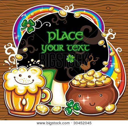 St Patrick's Day frame. Holiday symbols of  Ireland: Leprechaun's pot of magic gold with cartoon eyes, and smile  fresh beer, smiling face, Rainbow, Irish flag, Black message board with space for text