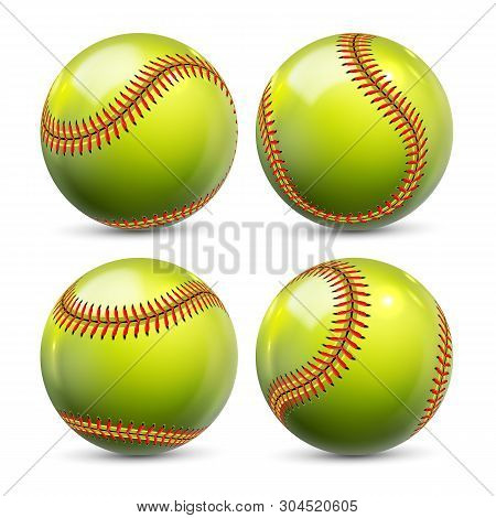 Yellow Softball Equipment Of Baseball Set Vector. Glossy Element Of Team Playing Game Softball. Diff