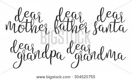 Modern Calligraphy Ink Word Dear Creative Vector. Stylish Typography Inscription With Different Hand