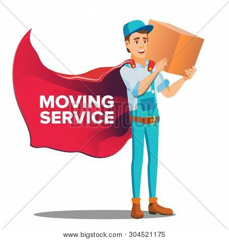 Character Workman Mover With Cardboard Box Vector. Smiling Happy Mover Young Man Boy In Uniform And Red Cloak Holding Carton Container. Moving Service For Relocation Flat Cartoon Illustration poster