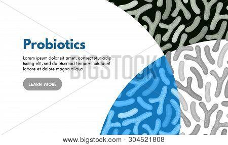 Vector Background With Probiotics. Bifidobacterium, Lactobacillus. Lactic Acid Bacterium. Microbiome