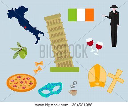 Italy Famous Rome Landmark. Italy Symbols Set. Italy. Venice, Rome, Pisa . Set Of Elements For Desig