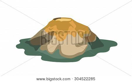 Extinct, Inactive Or Dormant Volcano With Crater Isolated On White Background. Hazardous Seismic Or