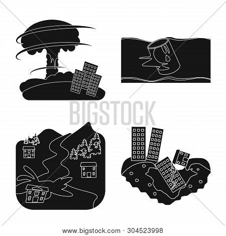 Vector Design Of Calamity And Crash Sign. Set Of Calamity And Disaster Stock Vector Illustration.