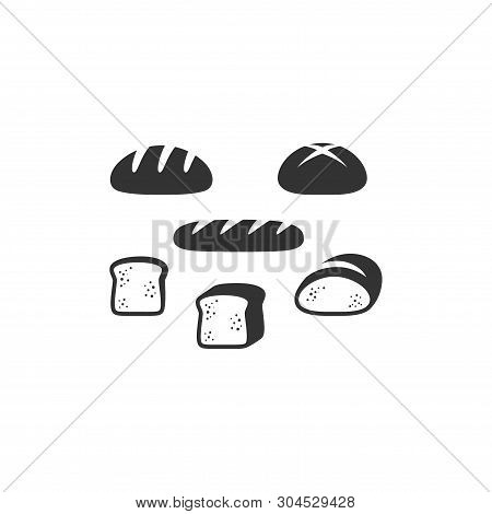 Bread Types, French Bread, Sliced Bread Black Vector Icon Set. Slice Of Bread, Loaf  Isolated Glyph