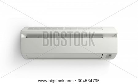 White Color Air Conditioner Machine 3d Render On White Background